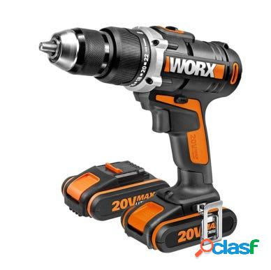 Taladro atornillador 20v li 2,0ah 2 baterias maletin worx 120292