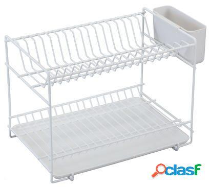 Escurreplatos cocina sobremesa doble con bandeja 18 platos plastico blanco sauvic 89000