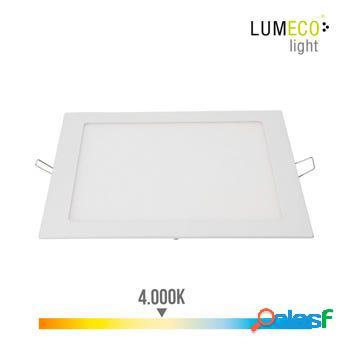 Foco iluminacion downlight cuadrado empotrable led 20w 1500lm 4000k ø22cm aluminio/plastico blanco edm