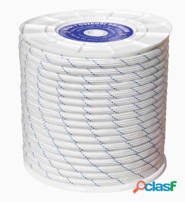 Cuerda fijacion trenzada doble 12mm 100 mt polipropileno blanco/azul hyc 4102120100
