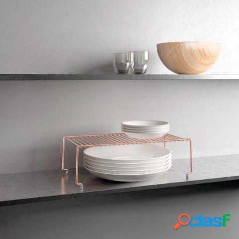 Estante cocina apilable 47x23x19cm inox brooklyn copper metaltex