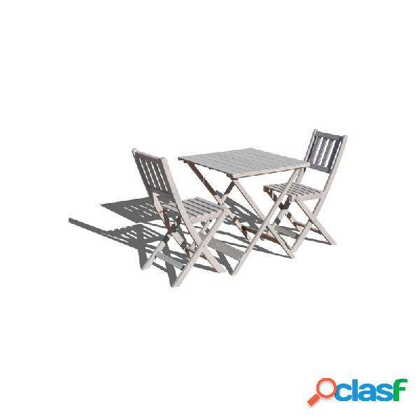 Set mesa madera +2 sillas plegables decape