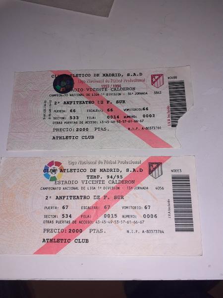 2 entradas del atlético de madrid 93/94 94/95