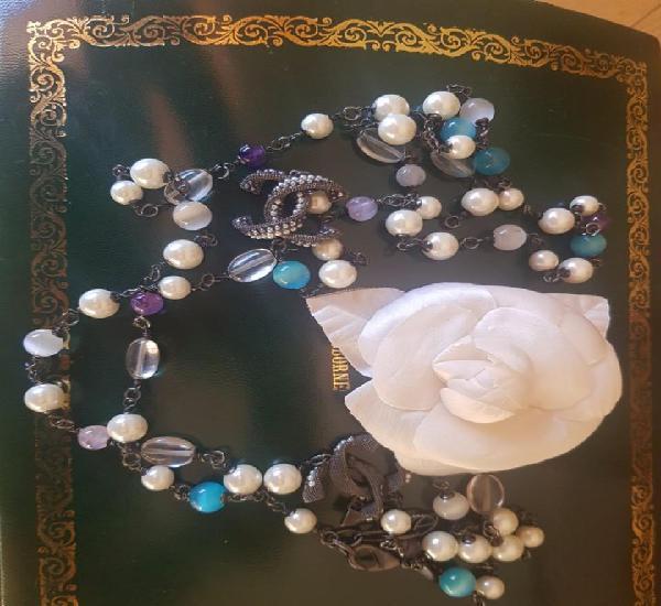 Chanel collar de perlas amatistas y cuarzo