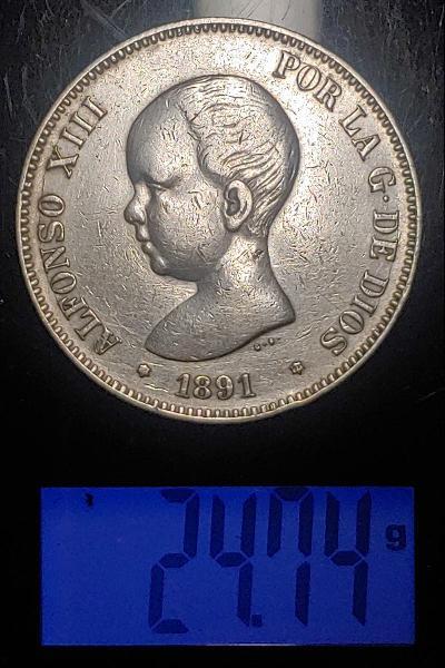 Moneda de plata de alfonso xiii de 1891
