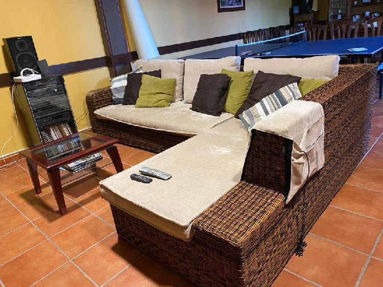 Sofa ratan chaise longue con sofa cama