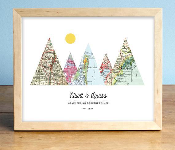 Aventura juntos™ mapa montaña personalizado boda o regalo