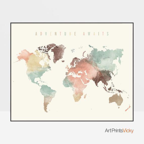 Aventura te espera, arte del mapa del mundo, mapa de viajes