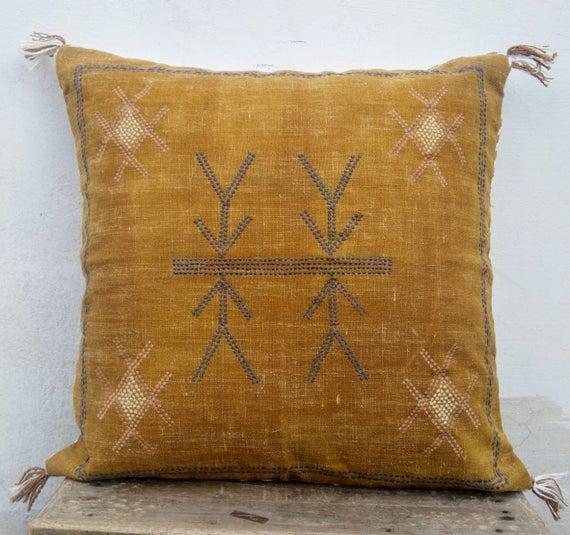 Color mostaza cactus seda inspirada 20 x 20 hecho a mano