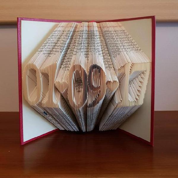 Date folded book art, wedding gift, anniversary gift,