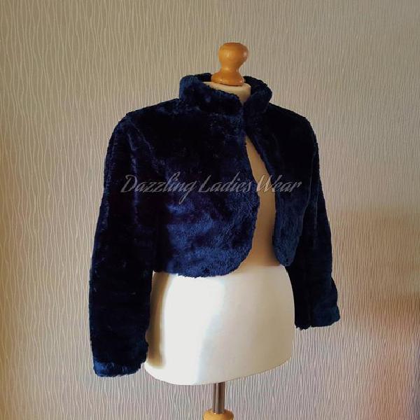 Navy blue long sleeved faux fur bolero / shrug / jacket /