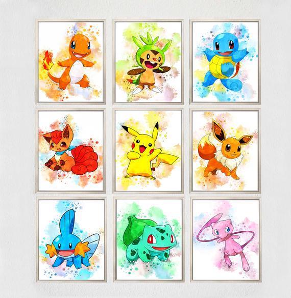 Set 9 pokemon printable arte, pokemon impresiones pokemon
