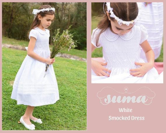 Tela de algodón blanco, vestido de primera comunión, hecho