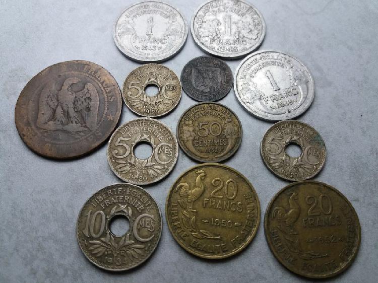 Francia 12 monedas de 1856 a 1952. precio lote