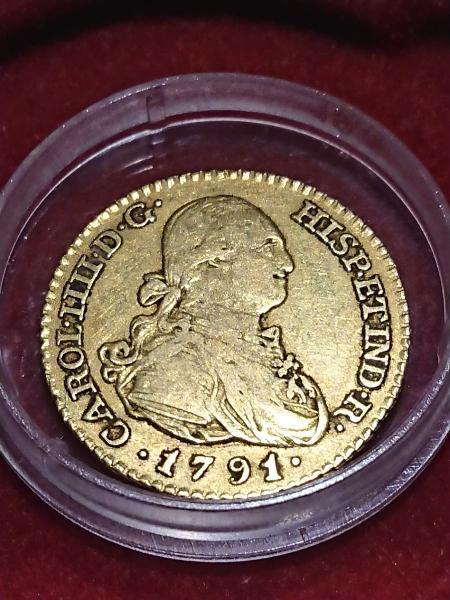 Moneda de oro de 1 escudo de 1791 de carlos 4
