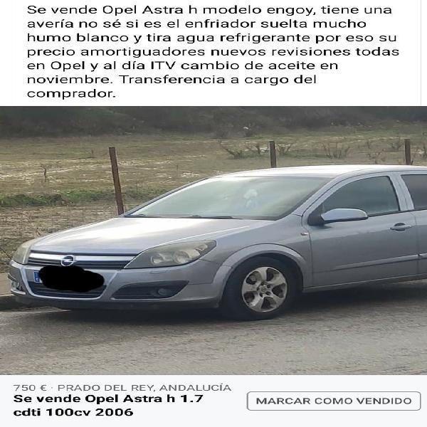 Opel astra h 1.7 cdti 100cv del 2006
