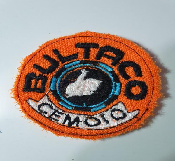 Parche original, bultaco bordado, naranja, azul, negro y