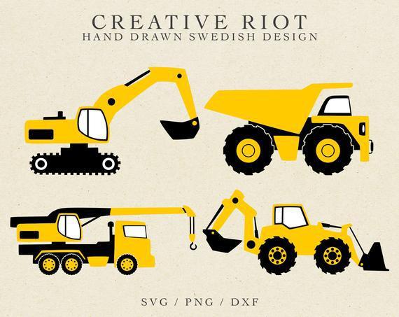 Construction svg - excavator svg, dump truck svg, crane