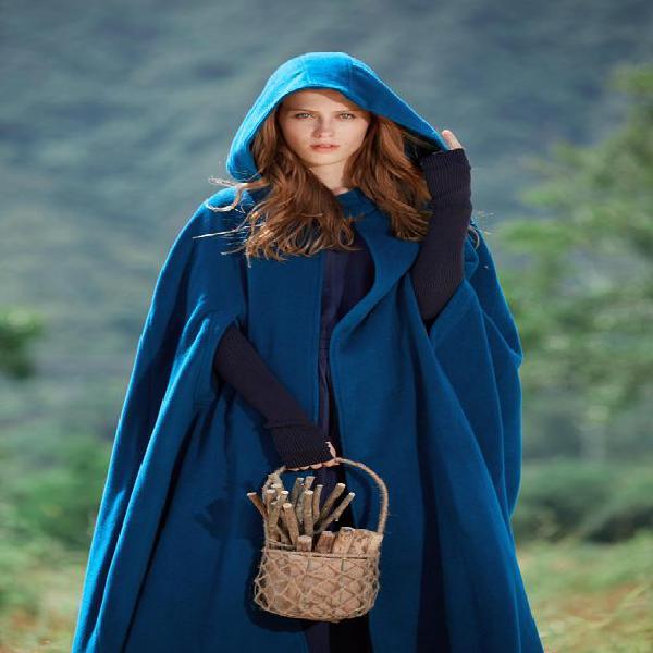 Maxi con capucha con capa de abrigo de lana, capa de