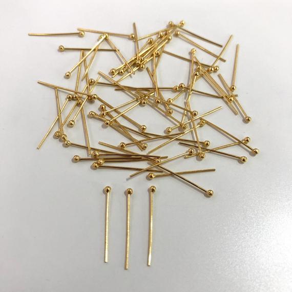 24k gold plated ballpoint headpins, 0.5mm (24 gauge) por