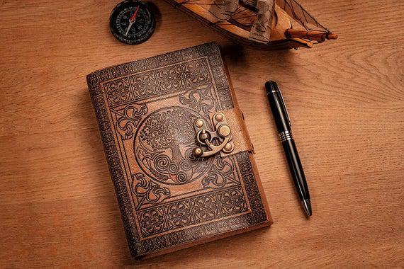 A5 handmade leather journal, bloc de notas de cuero, bronze