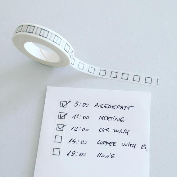 Casillas de verificación washi tape, lista de verificación