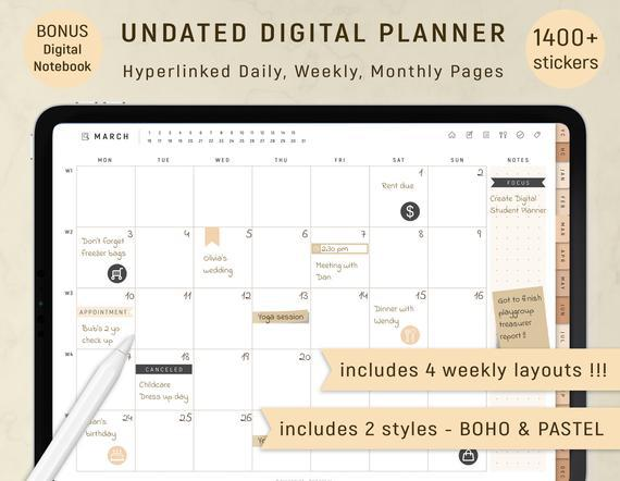 Digital planner goodnotes, undated digital planner, ipad