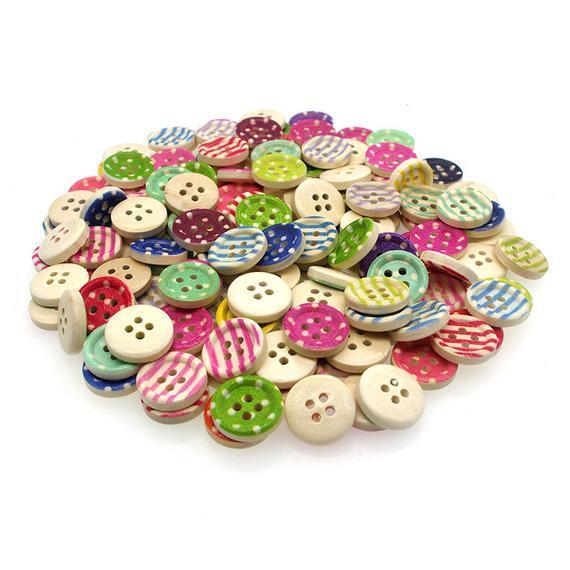 Mixto polka punto y rayas botones de madera 20pcs 15mm