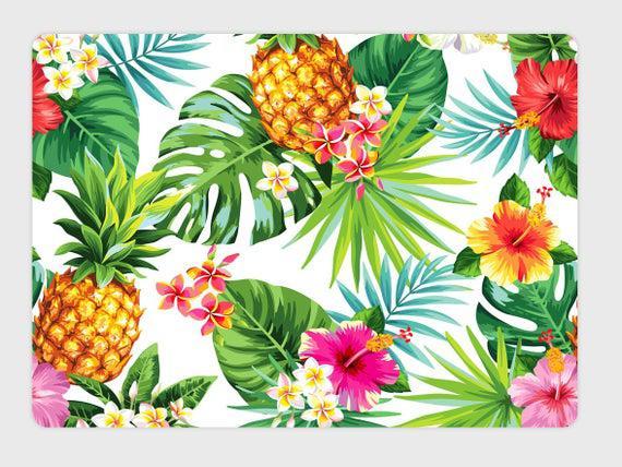Tejido de algodón de piña flores tropicales y hojas de