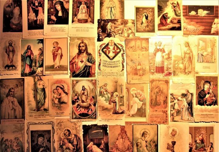 Lote de 35 estampas religiosas de 1900 a 1940 algunas de
