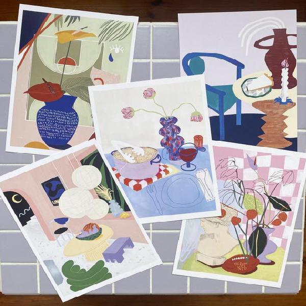 A5 prints set of interior & still life illustrations