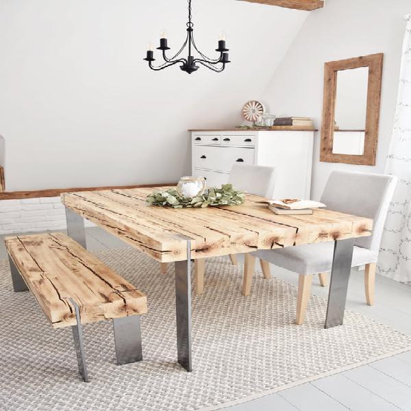 Hecho a mano de 6 plazas estilo casa de campo moderno madera