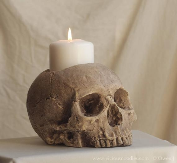 Skull candle holder (natural) full size human skull candle