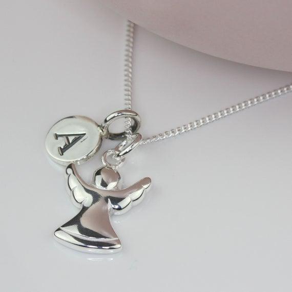 Collar de encanto de ángel guardián de plata maciza
