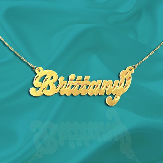 Collar de nombre de oro 24k oro plateado plata de ley -
