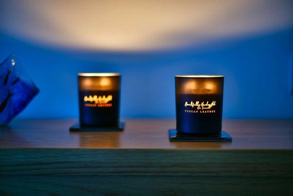 Cuero toscano glow-through soy & coconut candle, añadir su