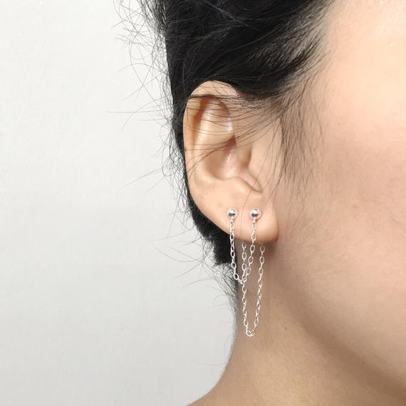 Doble pendiente piercing / pendiente de dos agujeros /