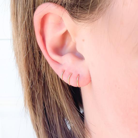 Gold huggie hoop earrings, 14k gold filled hoop earrings,