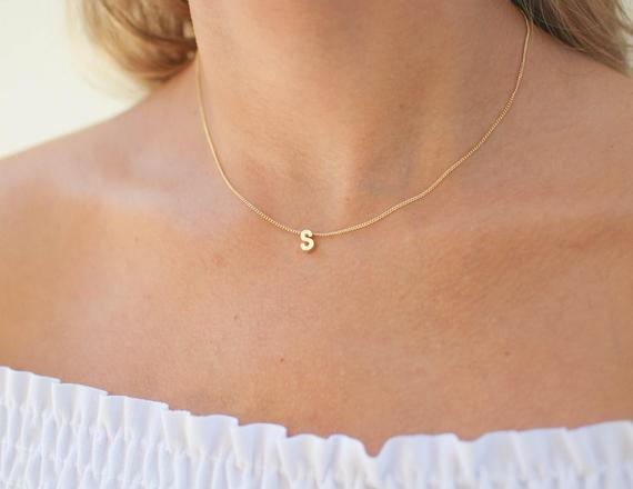 Gold initial necklace | minimal initial necklace | tiny