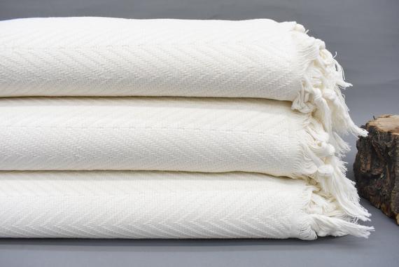 Manta de algodón orgánico, 90x82 pulgadas, blanco