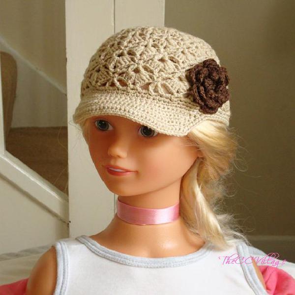 Marrón beige ganchillo bebé sombrero, crochet sombrero de