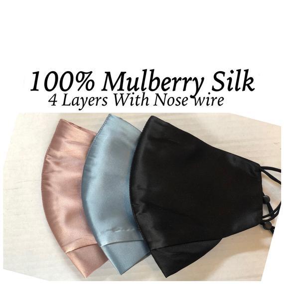 Máscara de seda de mora 4 capas alambre de la nariz 100%
