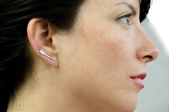 Pendientes de flecha de ley plata oreja esposa americana