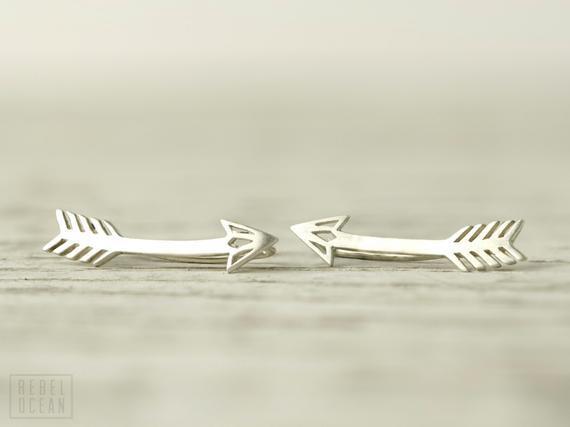 Pendientes de flecha de plata esterlina oreja escalador