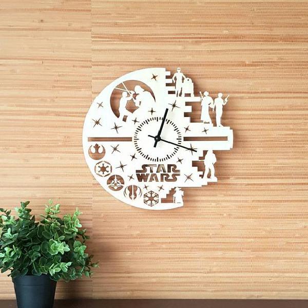Reloj de pared de star wars, colores disponibles, madera,