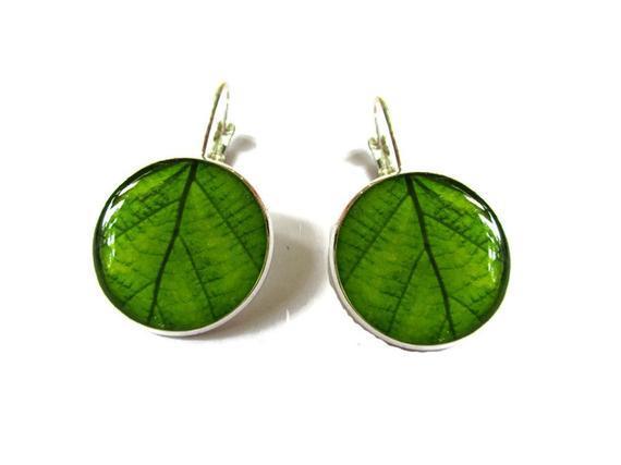 Verde, plata, primavera, joyería de hojas, rizos de la