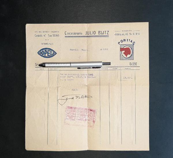 Opel factura de compra de un automóvil 1936 madrid julio