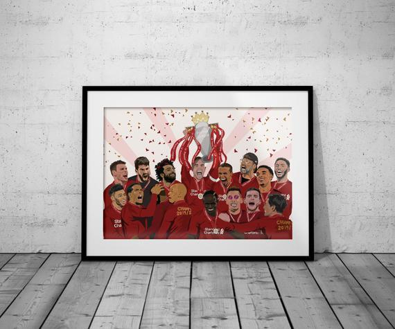 A3 liverpool team champions trophy illustrated football