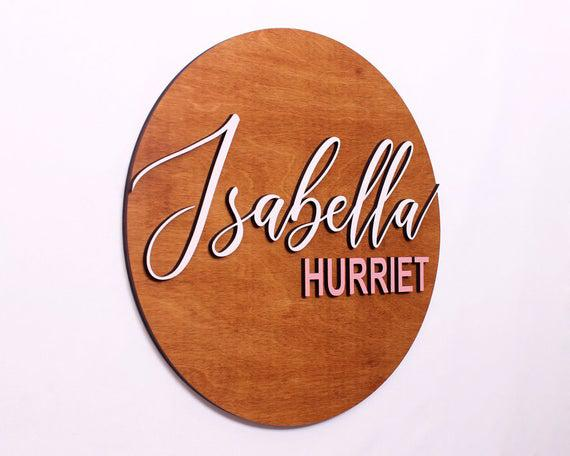 Baby name sign, nursery name sign, baby shower gift, wood