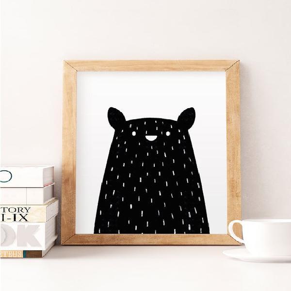 Impresión de oso negro, oso mínimo, arte de vivero de oso,